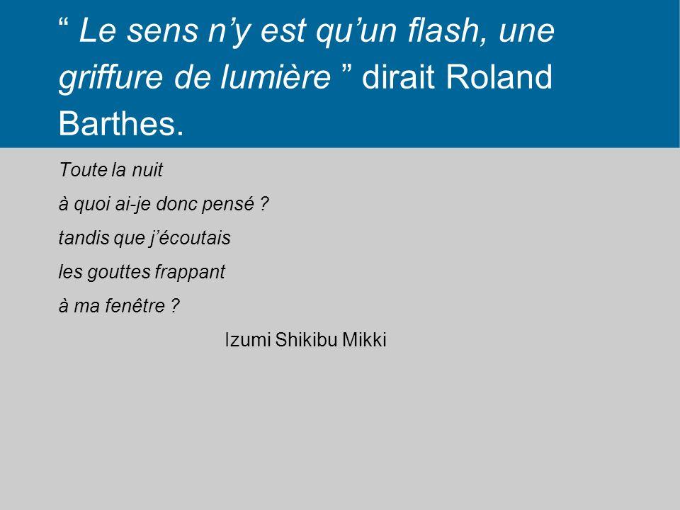 Le sens ny est quun flash, une griffure de lumière dirait Roland Barthes. Toute la nuit à quoi ai-je donc pensé ? tandis que jécoutais les gouttes fra