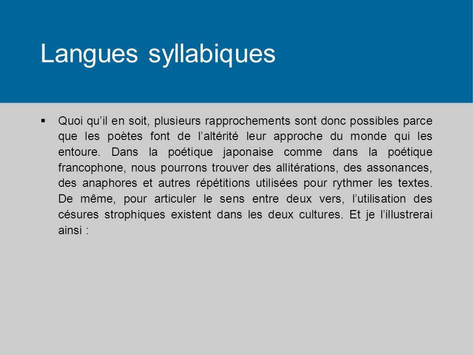 Langues syllabiques Quoi quil en soit, plusieurs rapprochements sont donc possibles parce que les poètes font de laltérité leur approche du monde qui
