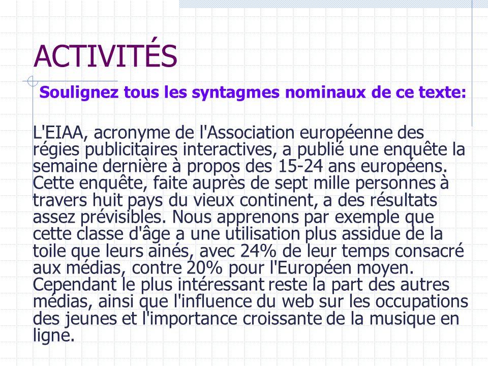 Corrigé L EIAA, acronyme de l Association européenne des régies publicitaires interactives, a publié une enquête la semaine dernière à propos des 15-24 ans européens.
