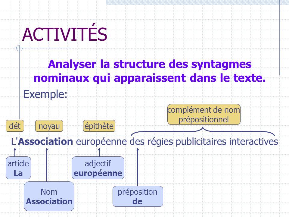 ACTIVITÉS Analyser la structure des syntagmes nominaux qui apparaissent dans le texte.