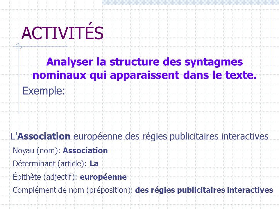ACTIVITÉS Analyser la structure des syntagmes nominaux qui apparaissent dans le texte. Exemple: L'Association européenne des régies publicitaires inte