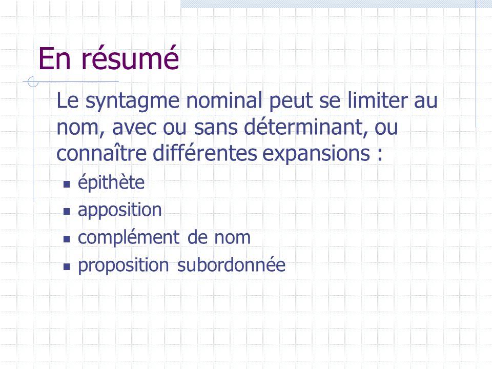 Le rôle du déterminant La présence dun déterminant est obligatoire dans un SN en français, sauf dans certains noms propres.