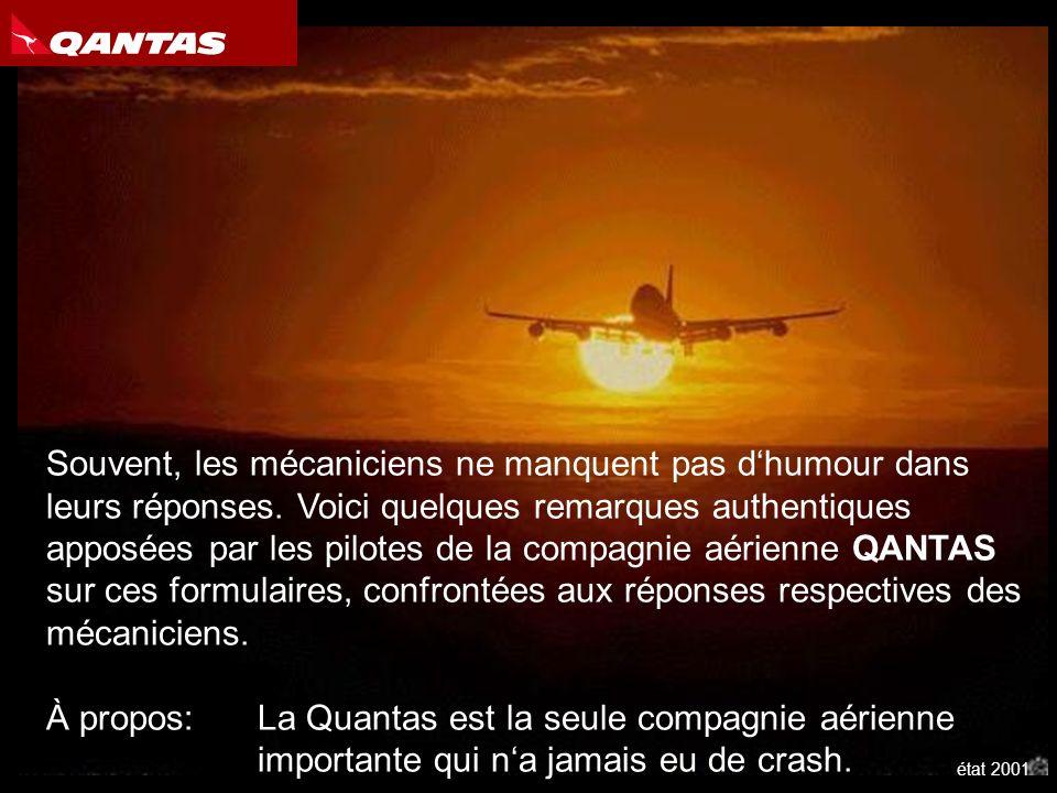 Après chaque vol, les pilotes établissent un formulaire dans lequel ils informent les mécaniciens au sol des problèmes quils ont rencontrés pendant le vol et qui nécessitent à leur avis une réparation ou une rectification.