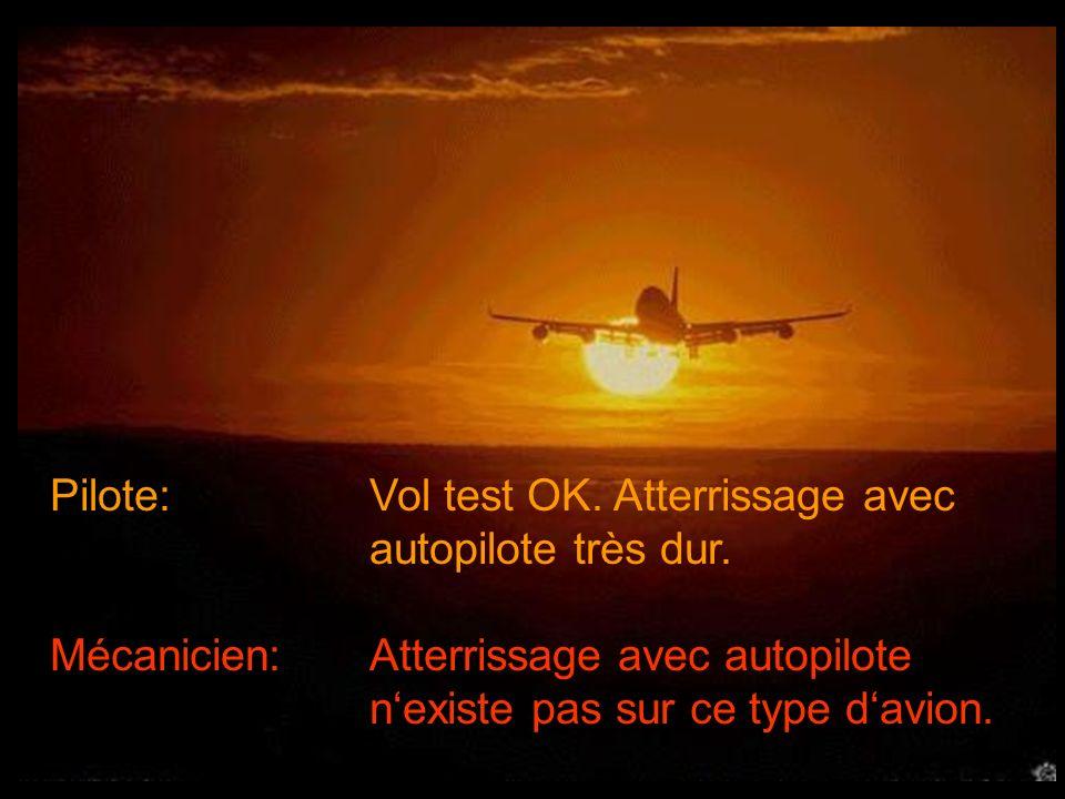 Pilote: Vol test OK.Atterrissage avec autopilote très dur.