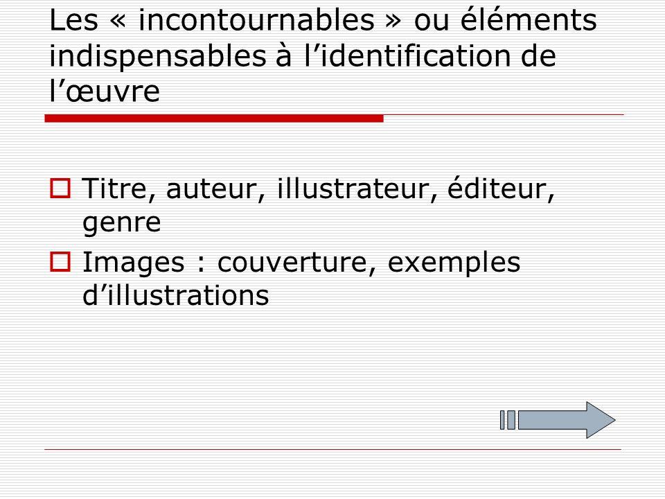 Les « incontournables » ou éléments indispensables à lidentification de lœuvre Titre, auteur, illustrateur, éditeur, genre Images : couverture, exemples dillustrations