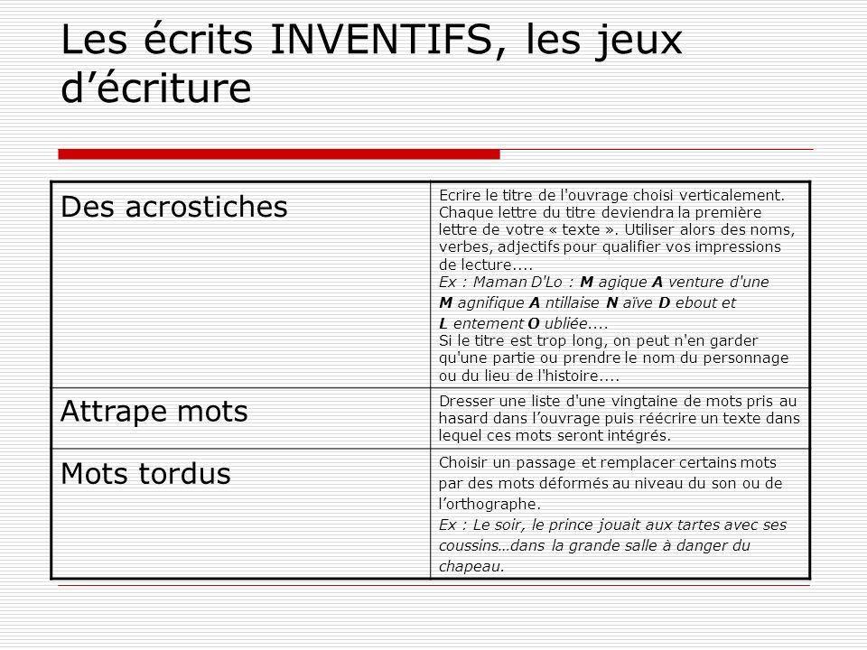 Les écrits INVENTIFS, les jeux décriture Des acrostiches Ecrire le titre de l ouvrage choisi verticalement.