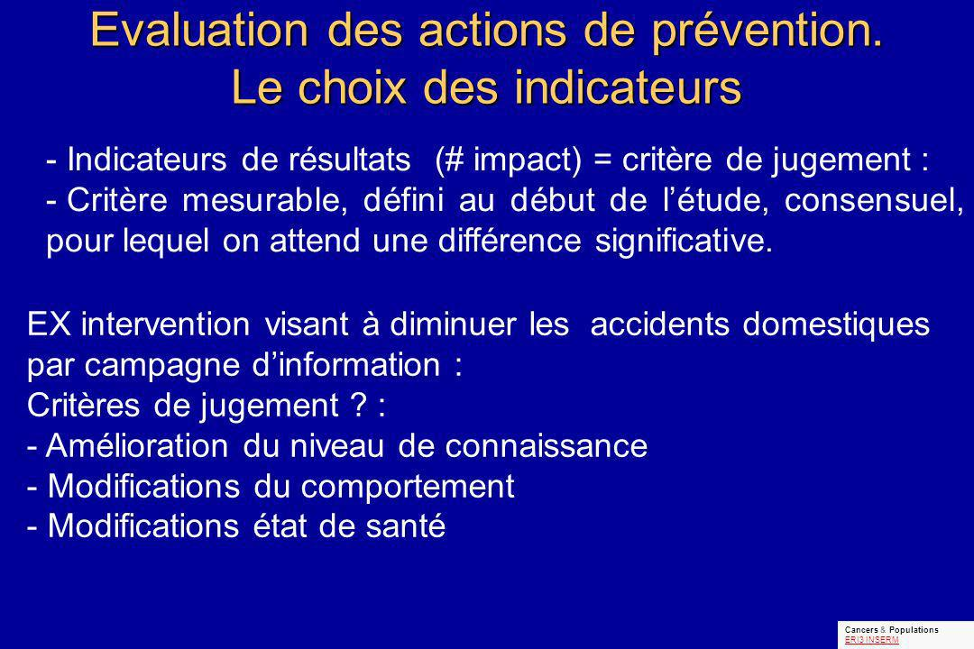 Evaluation des actions de prévention.