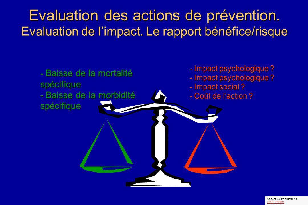 - Baisse de la mortalité spécifique - Baisse de la morbidité spécifique - Impact psychologique .