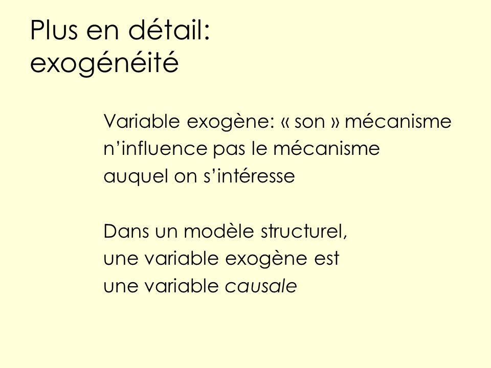Plus en détail: exogénéité Variable exogène: « son » mécanisme ninfluence pas le mécanisme auquel on sintéresse Dans un modèle structurel, une variable exogène est une variable causale