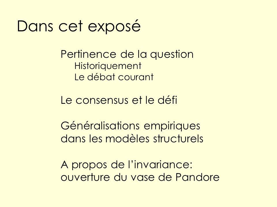 Dans cet exposé Pertinence de la question Historiquement Le débat courant Le consensus et le défi Généralisations empiriques dans les modèles structurels A propos de linvariance: ouverture du vase de Pandore