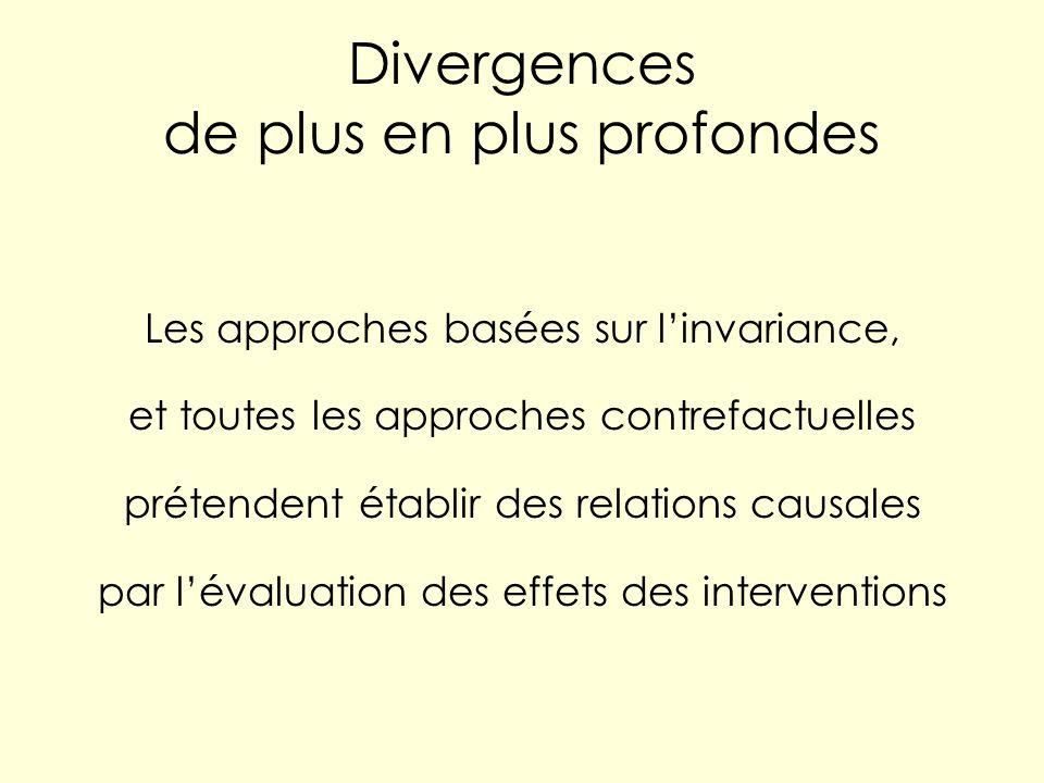 Divergences de plus en plus profondes Les approches basées sur linvariance, et toutes les approches contrefactuelles prétendent établir des relations causales par lévaluation des effets des interventions