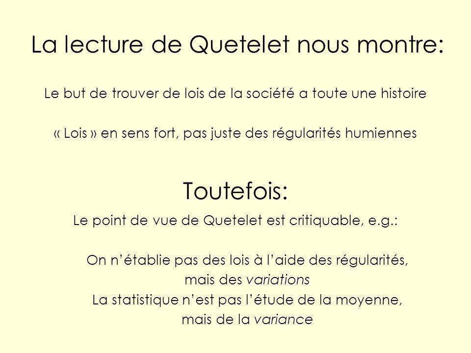 La lecture de Quetelet nous montre: Le but de trouver de lois de la société a toute une histoire « Lois » en sens fort, pas juste des régularités humi