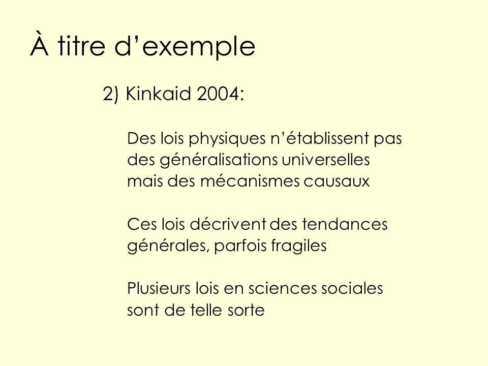 À titre dexemple 2) Kinkaid 2004: Des lois physiques nétablissent pas des généralisations universelles mais des mécanismes causaux Ces lois décrivent des tendances générales, parfois fragiles Plusieurs lois en sciences sociales sont de telle sorte