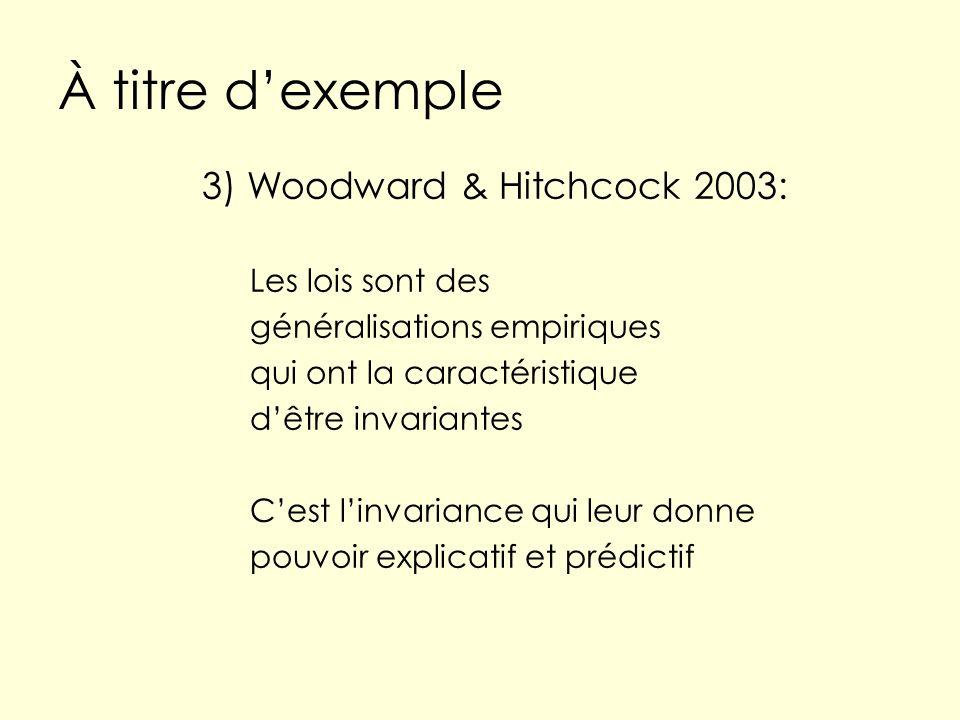 À titre dexemple 3) Woodward & Hitchcock 2003: Les lois sont des généralisations empiriques qui ont la caractéristique dêtre invariantes Cest linvaria