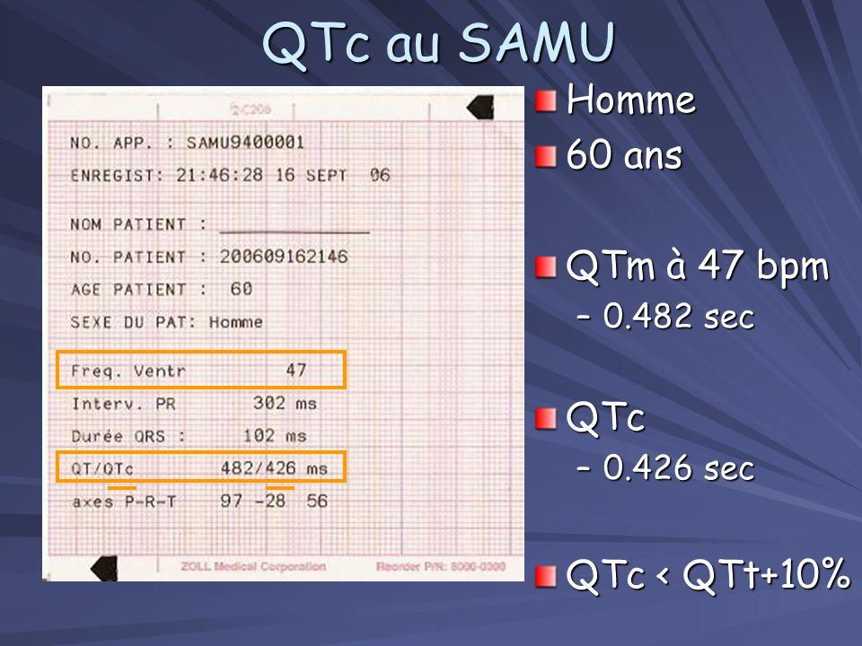 Méthode 1 (Ci-contre) –QTm = 0.400 sec –QTt = 0.320 sec (+10% = 0.352) –QTm > QTt + 10 % QT long QT long Méthode 2: Avec la formule - RR = 0.60 sec - RR = 0.60 sec –QTc = 0.400 / 0.60 = 0.500 sec = 0.500 sec –QTc > 0.44 + 0.044 (0.484) QT long QT long QTt = 0.32 sec.