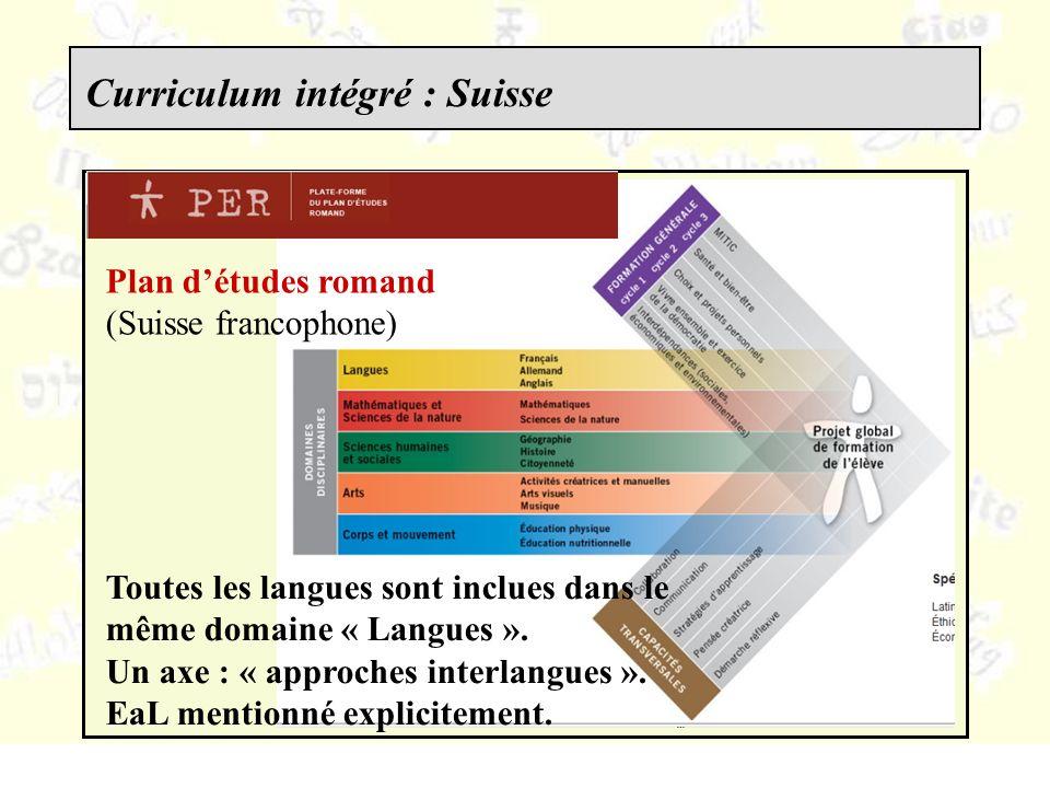 Plan détudes romand (Suisse francophone) Toutes les langues sont inclues dans le même domaine « Langues ».