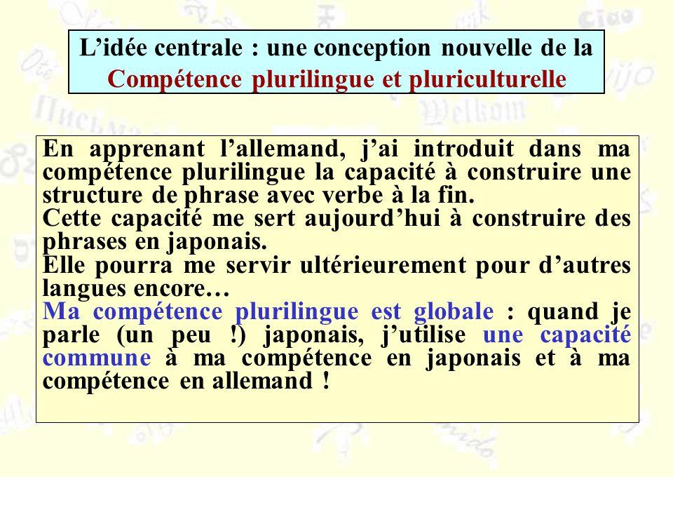 En apprenant lallemand, jai introduit dans ma compétence plurilingue la capacité à construire une structure de phrase avec verbe à la fin.