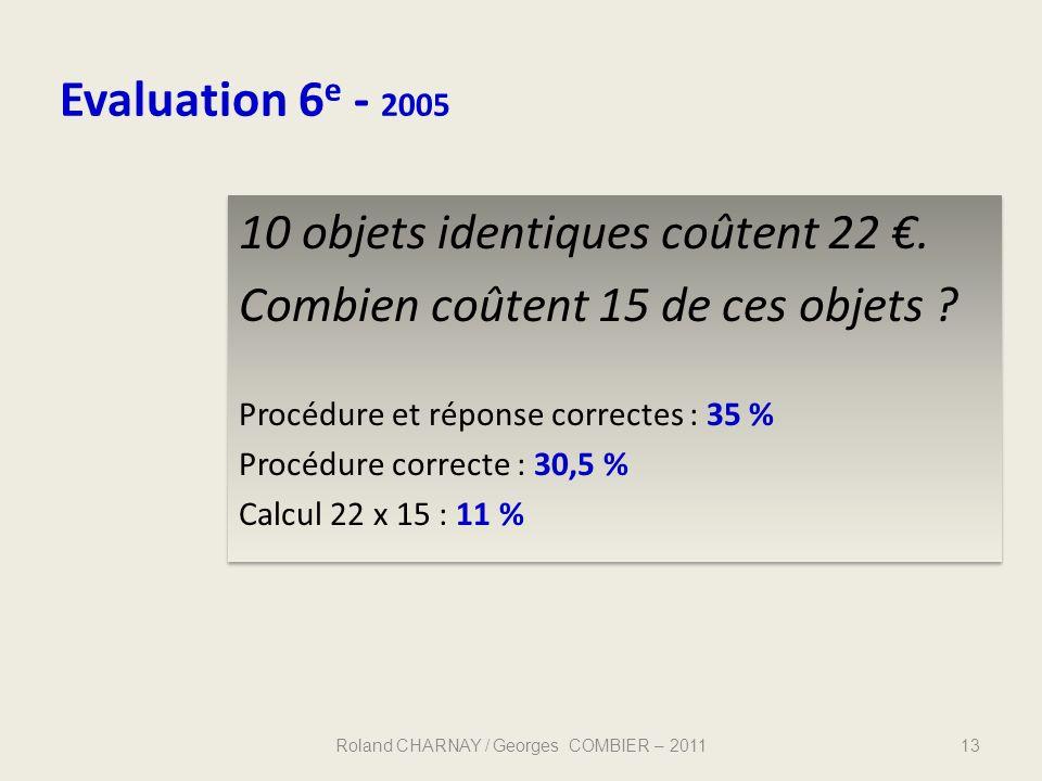 Evaluation 6 e - 2005 13 10 objets identiques coûtent 22. Combien coûtent 15 de ces objets ? Procédure et réponse correctes : 35 % Procédure correcte