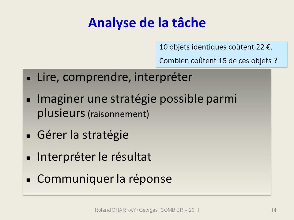 14 Analyse de la tâche Lire, comprendre, interpréter Imaginer une stratégie possible parmi plusieurs (raisonnement) Gérer la stratégie Interpréter le