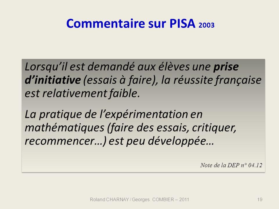Lorsquil est demandé aux élèves une prise dinitiative (essais à faire), la réussite française est relativement faible. La pratique de lexpérimentation