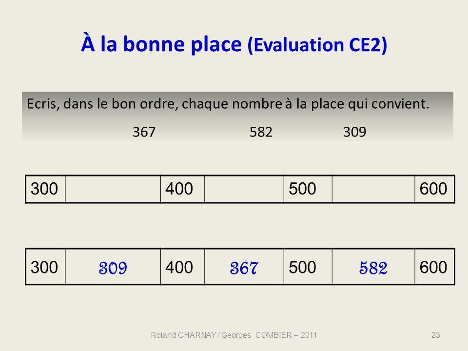 À la bonne place (Evaluation CE2) 23 Ecris, dans le bon ordre, chaque nombre à la place qui convient. 367582309 300400500600 300 309 400 367 500 582 6