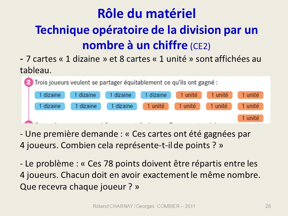 Rôle du matériel Technique opératoire de la division par un nombre à un chiffre (CE2) Roland CHARNAY / Georges COMBIER – 201128 - 7 cartes « 1 dizaine