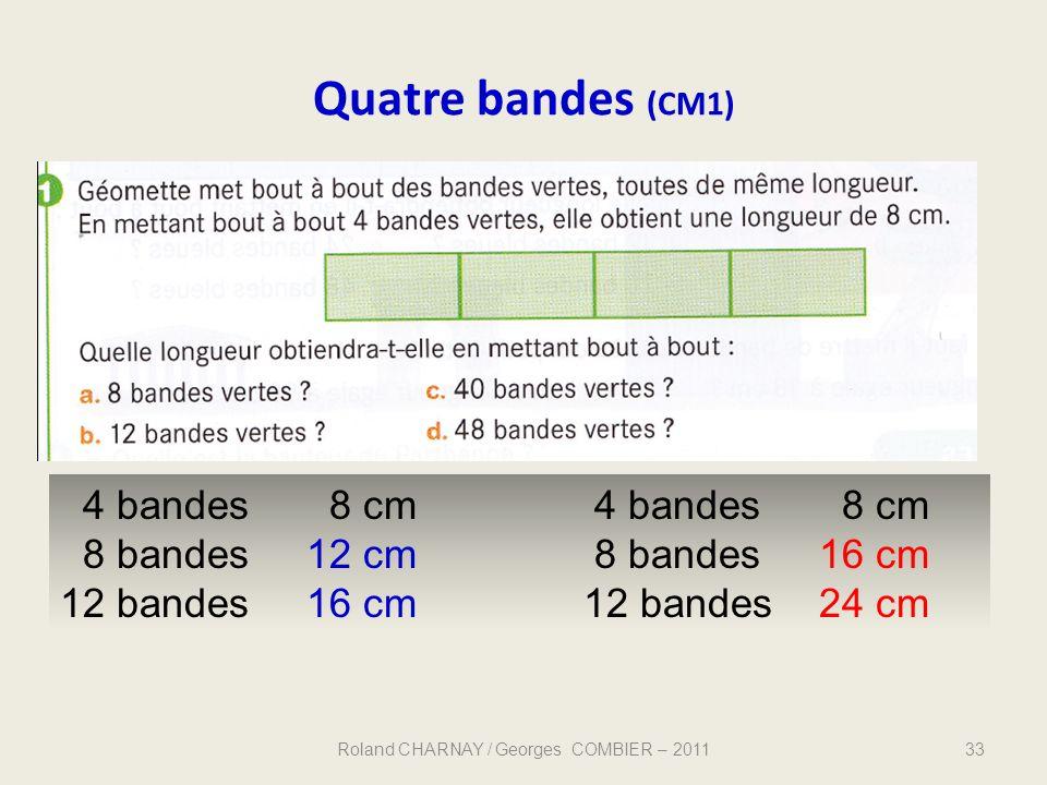 Quatre bandes (CM1) 33 4 bandes 8 cm 4 bandes 8 cm 8 bandes 12 cm 8 bandes 16 cm 12 bandes 16 cm12 bandes 24 cm Roland CHARNAY / Georges COMBIER – 201