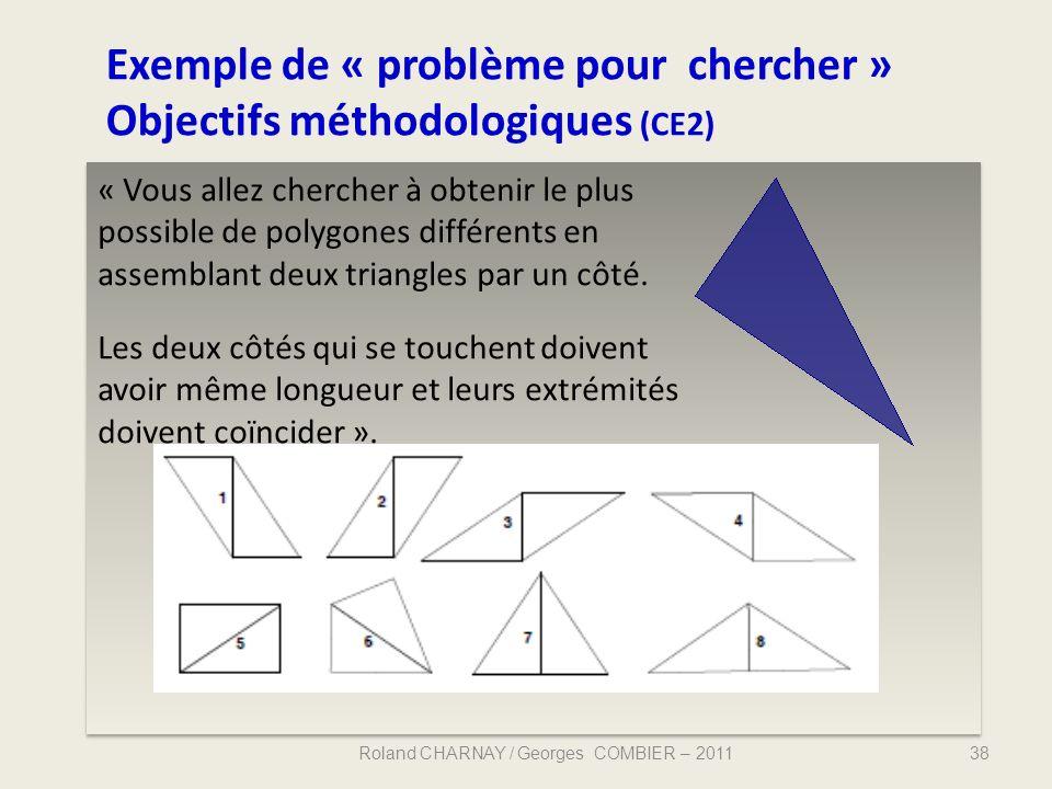 Exemple de « problème pour chercher » Objectifs méthodologiques (CE2) Roland CHARNAY / Georges COMBIER – 201138 « Vous allez chercher à obtenir le plu