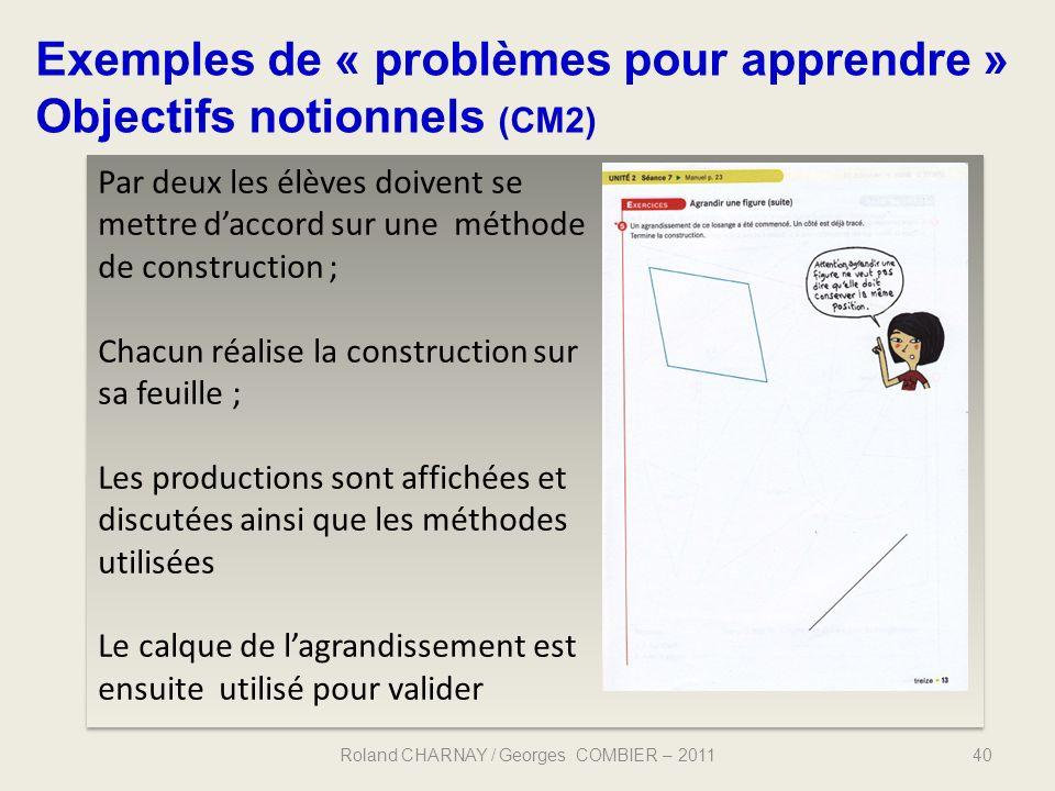 40 Exemples de « problèmes pour apprendre » Objectifs notionnels (CM2) Roland CHARNAY / Georges COMBIER – 2011 Par deux les élèves doivent se mettre d