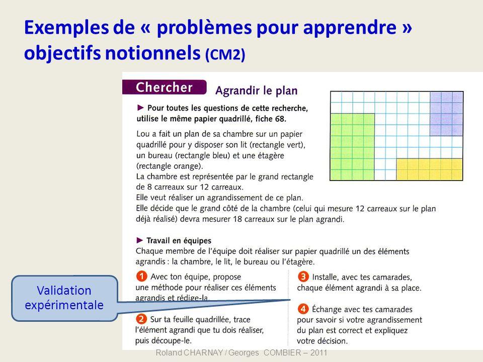 Exemples de « problèmes pour apprendre » objectifs notionnels (CM2) 41 Validation expérimentale Roland CHARNAY / Georges COMBIER – 2011