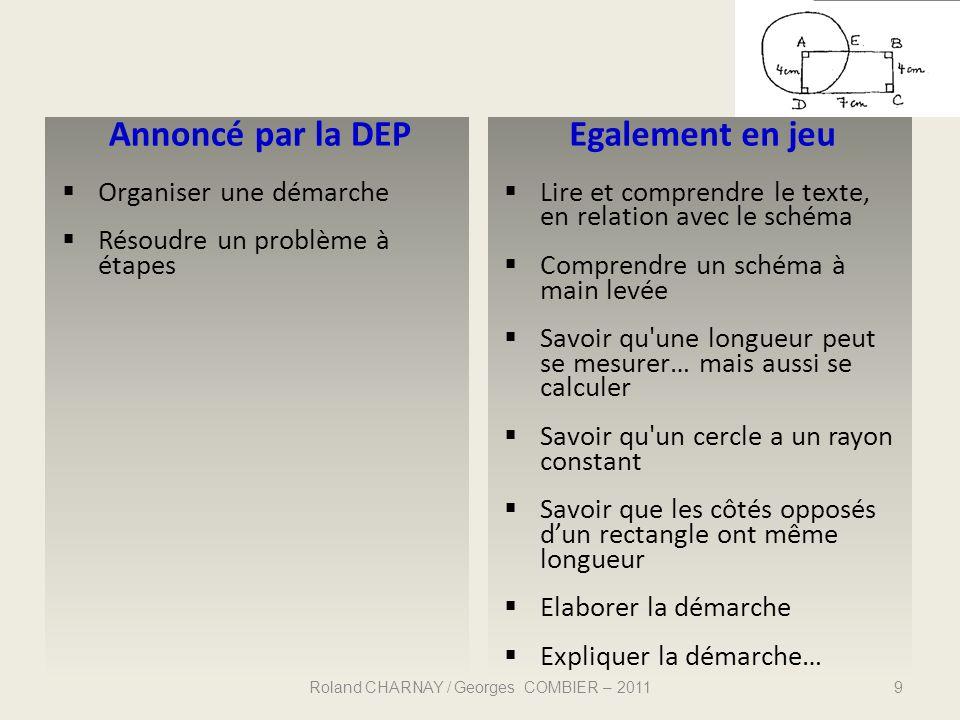 Annoncé par la DEP Organiser une démarche Résoudre un problème à étapes Egalement en jeu Lire et comprendre le texte, en relation avec le schéma Compr
