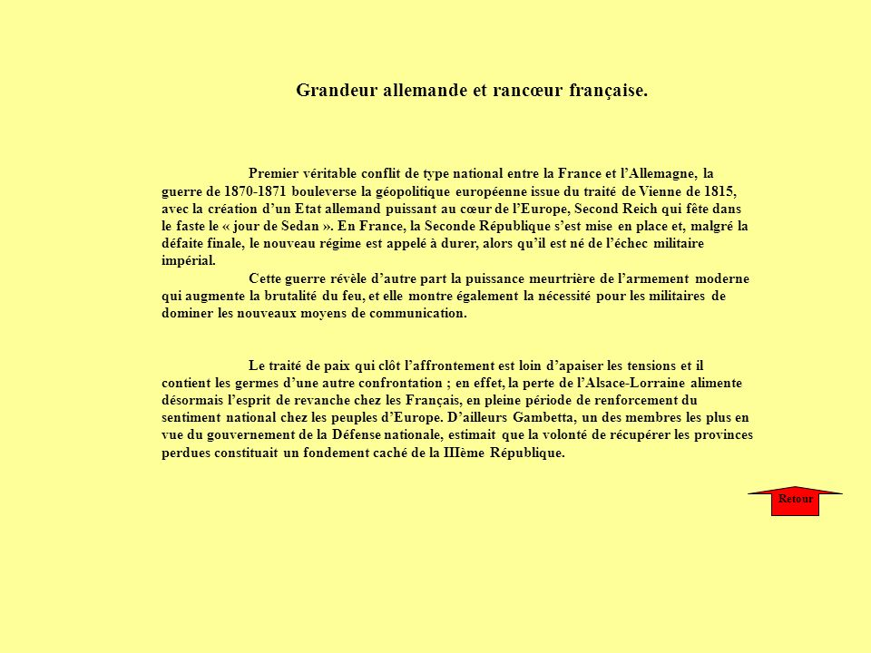 Premier véritable conflit de type national entre la France et lAllemagne, la guerre de 1870-1871 bouleverse la géopolitique européenne issue du traité