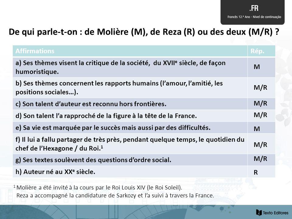 De qui parle-t-on : de Molière (M), de Reza (R) ou des deux (M/R) ? AffirmationsRép. a) Ses thèmes visent la critique de la société, du XVII e siècle,