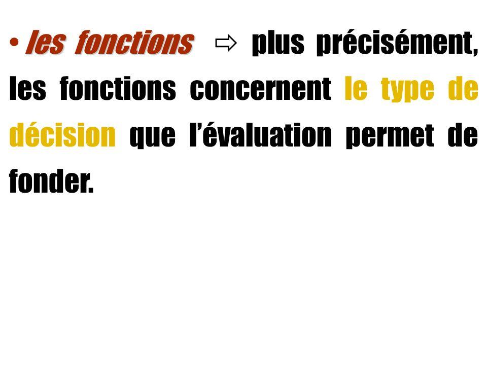les fonctions les fonctions plus précisément, les fonctions concernent le type de décision que lévaluation permet de fonder.