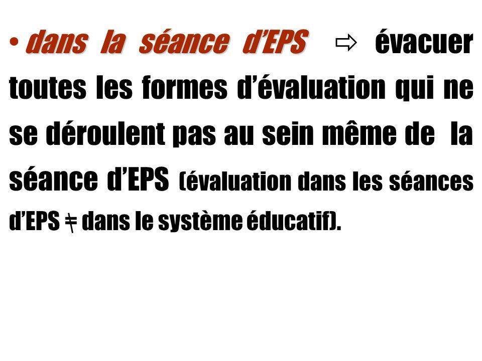 dans la séance dEPS dans la séance dEPS évacuer toutes les formes dévaluation qui ne se déroulent pas au sein même de la séance dEPS (évaluation dans