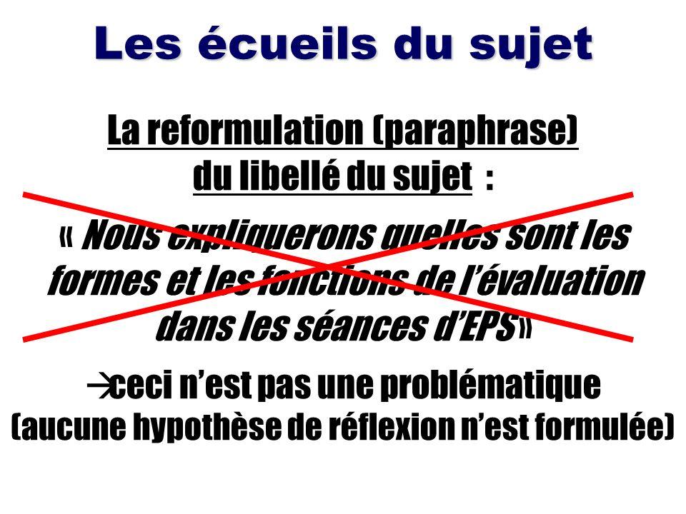 Les écueils du sujet La reformulation (paraphrase) du libellé du sujet : « Nous expliquerons quelles sont les formes et les fonctions de lévaluation d