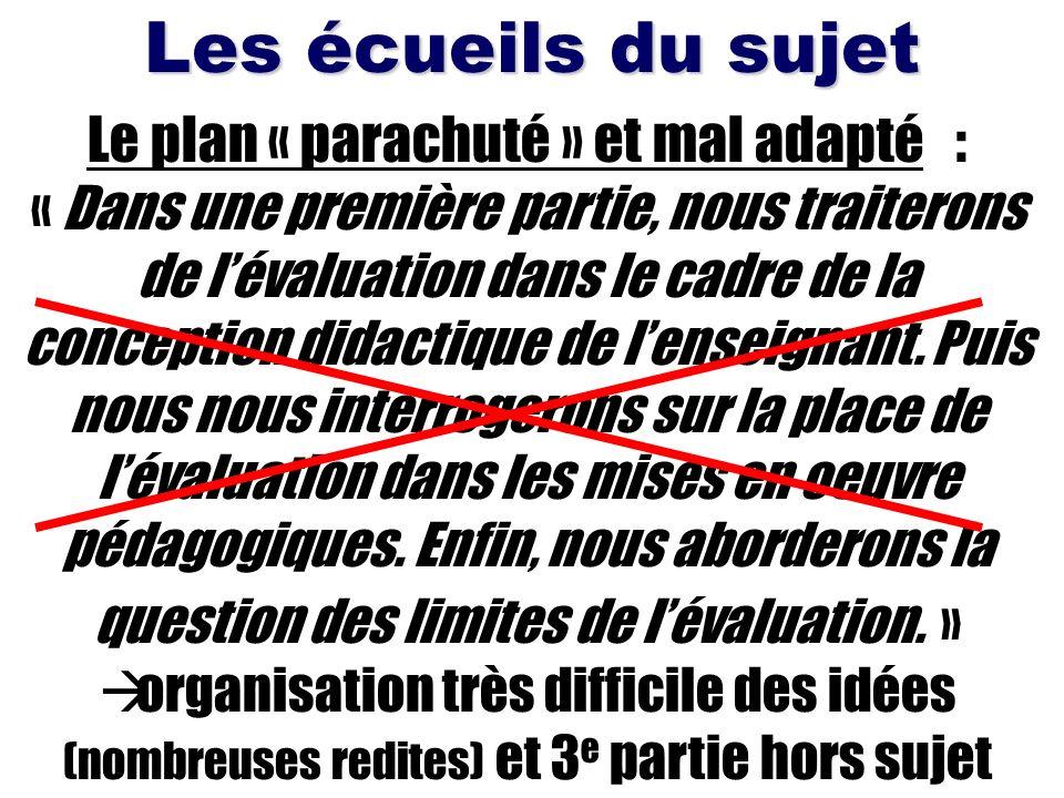 Les écueils du sujet Le plan « parachuté » et mal adapté : « Dans une première partie, nous traiterons de lévaluation dans le cadre de la conception d