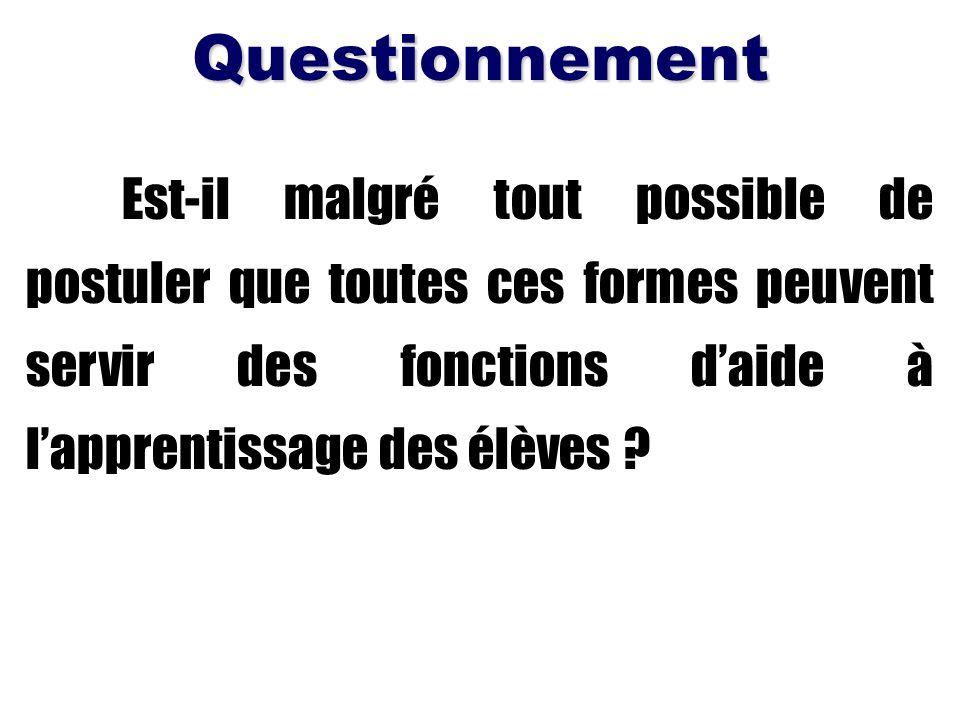 Est-il malgré tout possible de postuler que toutes ces formes peuvent servir des fonctions daide à lapprentissage des élèves ?Questionnement