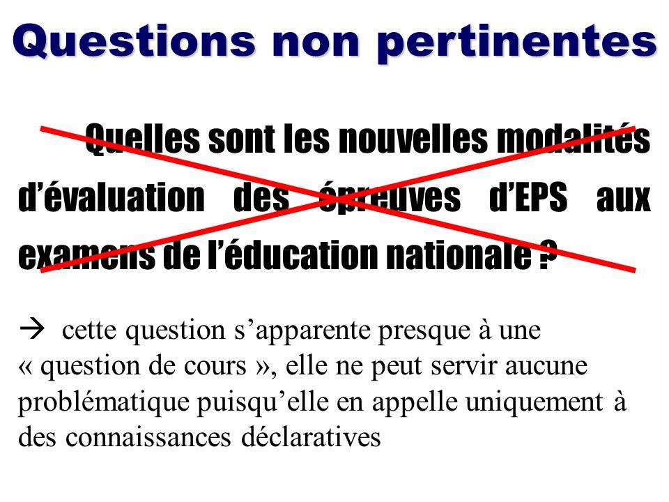 Quelles sont les nouvelles modalités dévaluation des épreuves dEPS aux examens de léducation nationale ? Questions non pertinentes cette question sapp