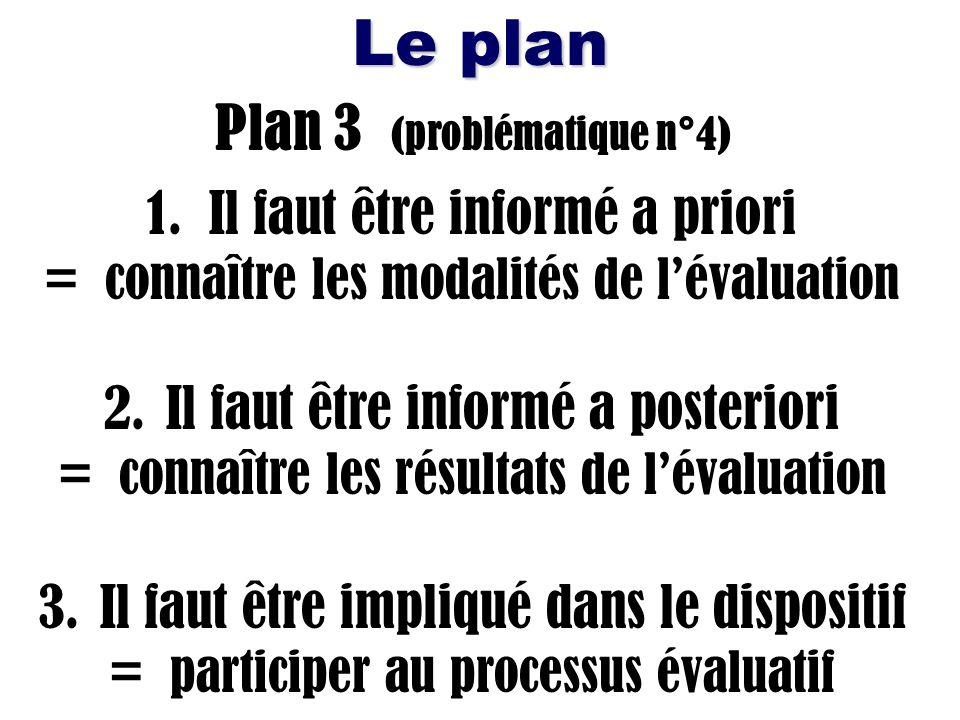 Le plan Plan 3 (problématique n°4) 1. Il faut être informé a priori = connaître les modalités de lévaluation 2. Il faut être informé a posteriori = co