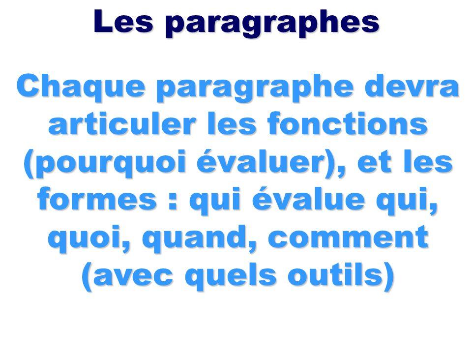 Les paragraphes Chaque paragraphe devra articuler les fonctions (pourquoi évaluer), et les formes : qui évalue qui, quoi, quand, comment (avec quels o