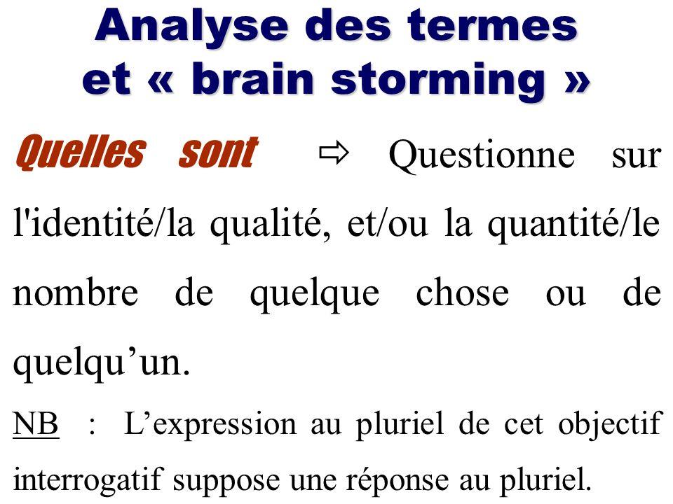 Analyse des termes et « brain storming » Quelles sont Questionne sur l'identité/la qualité, et/ou la quantité/le nombre de quelque chose ou de quelquu