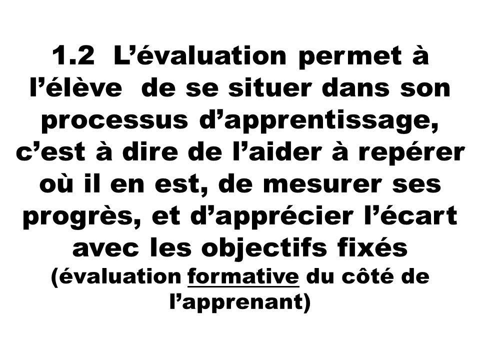 1.2 Lévaluation permet à lélève de se situer dans son processus dapprentissage, cest à dire de laider à repérer où il en est, de mesurer ses progrès,