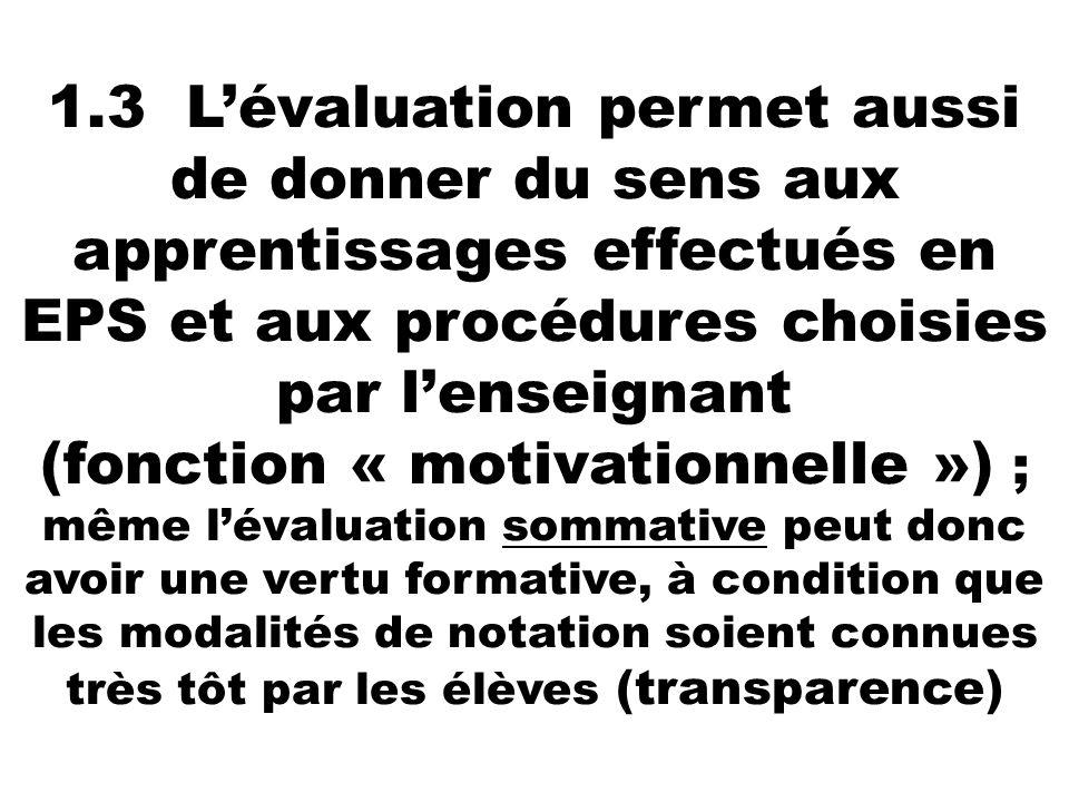 1.3 Lévaluation permet aussi de donner du sens aux apprentissages effectués en EPS et aux procédures choisies par lenseignant (fonction « motivationne