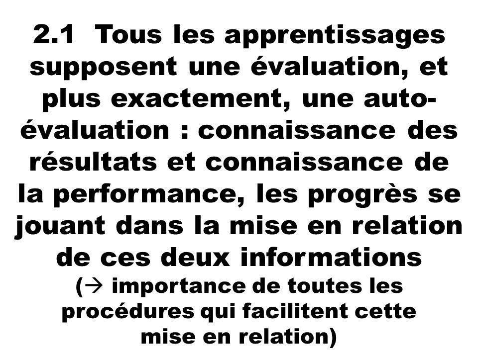 2.1 Tous les apprentissages supposent une évaluation, et plus exactement, une auto- évaluation : connaissance des résultats et connaissance de la perf