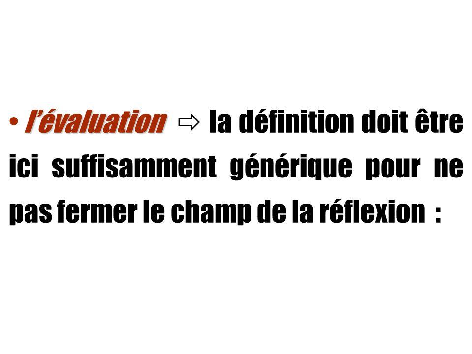 lévaluation lévaluation « Dans son acceptation la plus large, le terme d évaluation désigne l acte par lequel à propos d un individu, d un événement ou d un objet, on émet un jugement en se référant à un ou plusieurs critères.