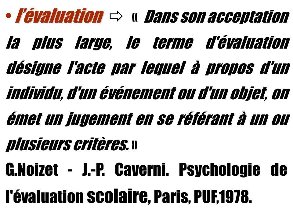 lévaluation lévaluation « Dans son acceptation la plus large, le terme d'évaluation désigne l'acte par lequel à propos d'un individu, d'un événement o