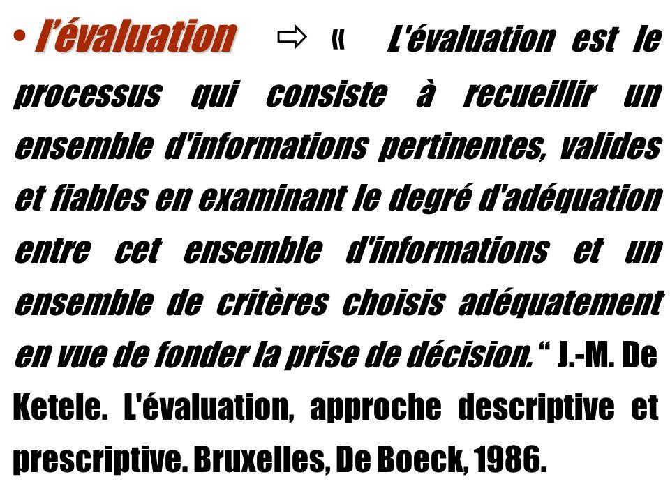 lévaluation lévaluation « L évaluation est le processus qui consiste à recueillir un ensemble d informations pertinentes, valides et fiables en examinant le degré d adéquation entre cet ensemble d informations et un ensemble de critères choisis adéquatement en vue de fonder la prise de décision.