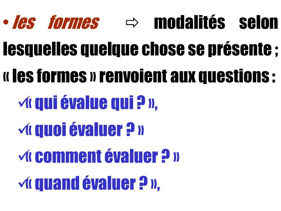 les formes modalités selon lesquelles quelque chose se présente ; « les formes » renvoient aux questions : « qui évalue qui ? », « quoi évaluer ? » «