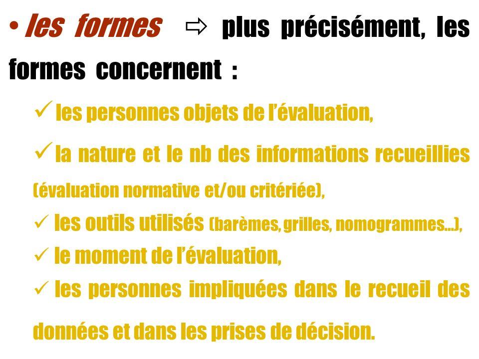 les formes plus précisément, les formes concernent : les personnes objets de lévaluation, la nature et le nb des informations recueillies (évaluation